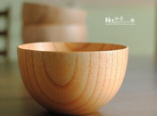 日式外贸原木碗 沙拉碗 木质儿童宝宝碗,碗盆,