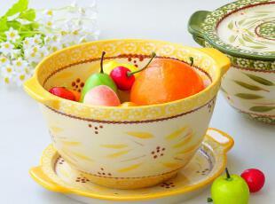外贸釉下彩手绘陶瓷餐具 欧洲田园风 烘焙 带盖盘 汤碗 汤锅 烤盆,碗盆,