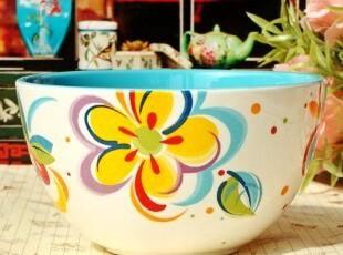 北欧家居/现代简约陶瓷餐具/悠图威尔手绘欧式汤碗/面碗/沙拉碗,碗盆,