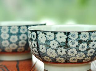 F2037 日式和风手绘青花 樱花花纹 大汤碗陶瓷碗套装礼盒 2个入,碗盆,
