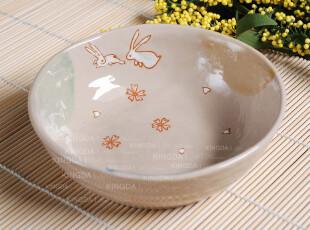 特惠 外贸陶瓷 日式和风陶瓷餐具 兔子小汤碗 米碗 粥碗 饭碗,碗盆,