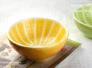 新鲜尝 柠檬形大面碗 沙拉碗 汤碗 外贸陶瓷彩绘西餐具,碗盆,