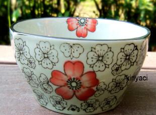 馨雅瓷 出口原单 手绘陶瓷餐具 韩式碗 汤碗 米饭碗 粥碗 4色选,碗盆,