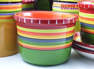 南希.格林条纹 陶瓷餐具 碗 小饭碗 3色 14.8元1个,碗盆,