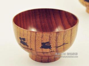 日式餐具/天然原木印花木碗/手工雕作兔纹饭碗/日本木制餐具,碗盆,