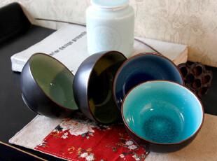 五折包邮 冰裂水晶釉 四个套装碗 套装陶瓷碗 餐具 米饭碗,碗盆,