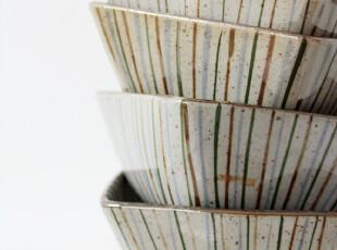 日式 和风 陶瓷碗 七色竖条纹 日单 zakka 餐具茶具 茶碗 饭碗,碗盆,
