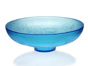 WUSE 海之蓝 手工定制玻璃大碗 沙拉碗 果蔬碗 果盆 装饰摆件,碗盆,