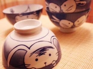 手绘青花 卡通小兔子 日式和风系列 四枚入 渐变陶瓷碗 礼盒装,碗盆,