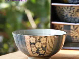 日式和风 兰彩 京瓷螺纹碗/餐具饭碗/陶瓷碗套装 5只礼盒装,碗盆,