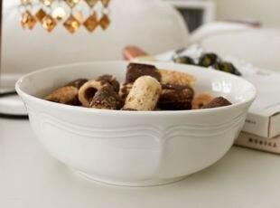 MIKASA白色简洁花纹汤碗/沙拉碗 出口 西餐餐具,碗盆,