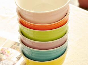 C'designer.日式韩式西式螺纹陶瓷糖果色米饭碗/陶瓷碗/4.5寸6色,碗盆,