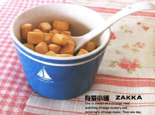 【有爱小铺】 杂货 zakka 家居 地中海蓝 帆船陶瓷小碗 有瑕疵,碗盆,
