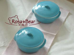 可爱乖巧蓝色双耳带盖烤碗 小锅 布丁碗 炖盅 烘焙陶瓷 外贸出口,碗盆,