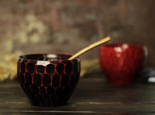出口日本 根来 曙 天然漆器 日式饭碗 手工切削龟甲纹 厚重感木碗,碗盆,