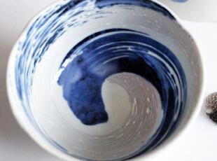 日本限量进口】岚手作精致莲花边蓝刷漩涡纹细瓷小碗饭碗4.5寸,碗盆,