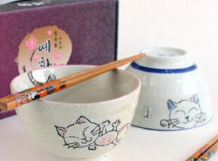 特价日式和风精致洒雪可爱招财猫情侣对碗礼物套装二入礼盒赠对筷,碗盆,