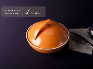泡面碗 带盖 大号 日式 陶瓷碗 微波 新加坡luzerne 桔黄色CB0987,碗盆,