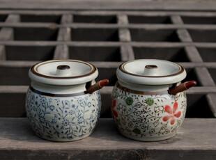 日式出口陶瓷器餐具zakka山田烧有田烧 和风青花调味罐 盐罐 特价,碗盆,