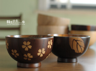 原木碗 樱花树叶对碗 情侣木质碗 儿童餐具,碗盆,