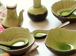 景商推荐.拆售--冰裂翠色釉.日本和风陶瓷餐具套装,碗盆,