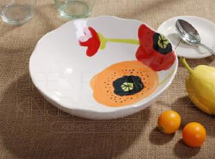 外贸 陶瓷餐具 出口瓷器 欧洲 西式 手绘花朵 荷口汤碗 面碗 果盘,碗盆,