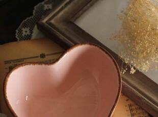 粉色心事。复古心型碗/零食碗,碗盆,