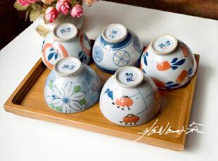 全民疯抢 出口日本.和风系列日式手绘.四季梦彩米饭碗(五入装),碗盆,