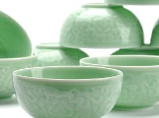 F3003 龙泉窑梅子青 沉雕牡丹纹花开富贵餐具套装 凹凸纹 10个入,碗盆,