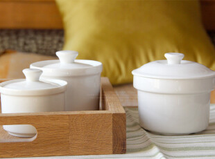 水生之城 外贸出口原单尾单 Luzerne新骨瓷汤盅食品罐炖罐3件套,碗盆,