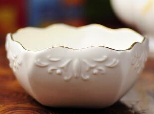 奢侈品牌白宫专用瓷器lenox巴洛克浮雕描金五边形零食碗 餐具家居,碗盆,