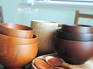 日式木质餐具 原木色栗木手工碗 大中小号 儿童碗餐具,碗盆,