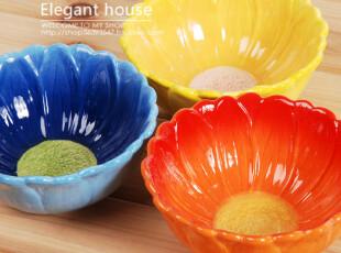 外贸陶瓷餐具 点心碗 甜品碗 沙拉碗 米饭碗 浓烈花朵碗配餐刀,碗盆,