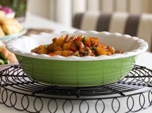 猪猪推荐:Luzerne绿色/红色花边大烤碗/汤碗(无logo) 出口,碗盆,