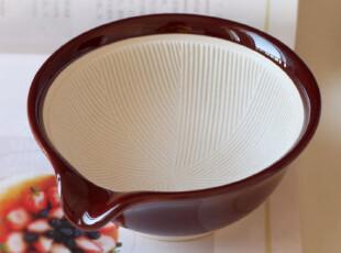 日式厚瓷量米碗.碗内陶艺纹路.很特别的哦,碗盆,