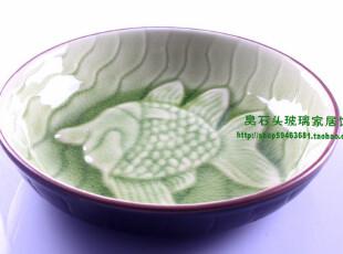 鱼形饭碗 景德镇 翠绿冰裂釉 陶瓷盘 热菜盘 冷菜盘 凉菜盘,碗盆,