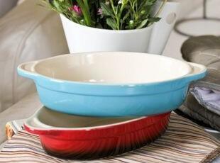 椭圆形双柄烤碗(天蓝色/红黑渐变色) 出口 西餐餐具,碗盆,