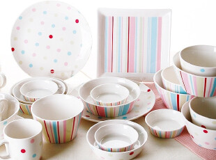 『韩国进口家居』R945 粉彩点点条纹全家抗菌餐具24件套,碗盆,