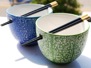 出口外贸韩式彩釉陶瓷碗*情侣对碗*饭碗*日式和风面碗/日单杂货,碗盆,