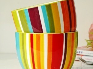 宜家风格/美克美家陶瓷餐具/莫尔条纹沙拉碗/面条米饭碗/冰激凌碗,碗盆,