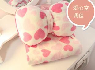 特●玫粉蝴蝶结爱心图案 多功能靠枕空调小毛毯/披肩 车载两件套,空调毯,