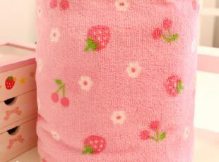 夏季日单 可爱粉色小草莓和小樱桃 珊瑚绒毛毯 毯子 空调毯 0.5kg,空调毯,
