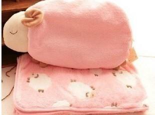 可爱粉色安睡羊夏用空调毯 珊瑚绒毯子两用靠垫抱枕毯包邮,空调毯,