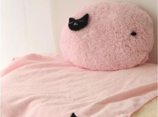 包邮可爱猫咪汽车办公室情侣创意抱枕被子两用靠垫被空调毯3色,空调毯,
