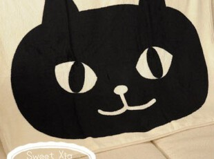 原单正品 可爱靴下猫 大猫头珊瑚绒毯卡通毛毯子空调毯 2色选,空调毯,