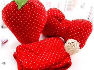 七夕情人节草莓蝴蝶结枕头 珊瑚绒小毛毯子午休抱枕被子 两用靠垫,空调毯,