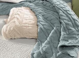 简单的奢华 美国代购包邮 素雅麻花形针织毛线薄毯 谨防假货!,空调毯,