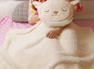 可爱卡通小羊靠垫被子两用抱枕家用汽车用空调毯珊瑚绒毯子,空调毯,