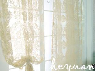 [禾苑]欧式花型 米白色调植绒 窗帘窗纱  外单畅销款,窗帘,