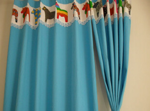 【爱家窗帘】蓝色小马 儿童窗帘布料帆布 遮光 窗帘纯棉特价,窗帘,